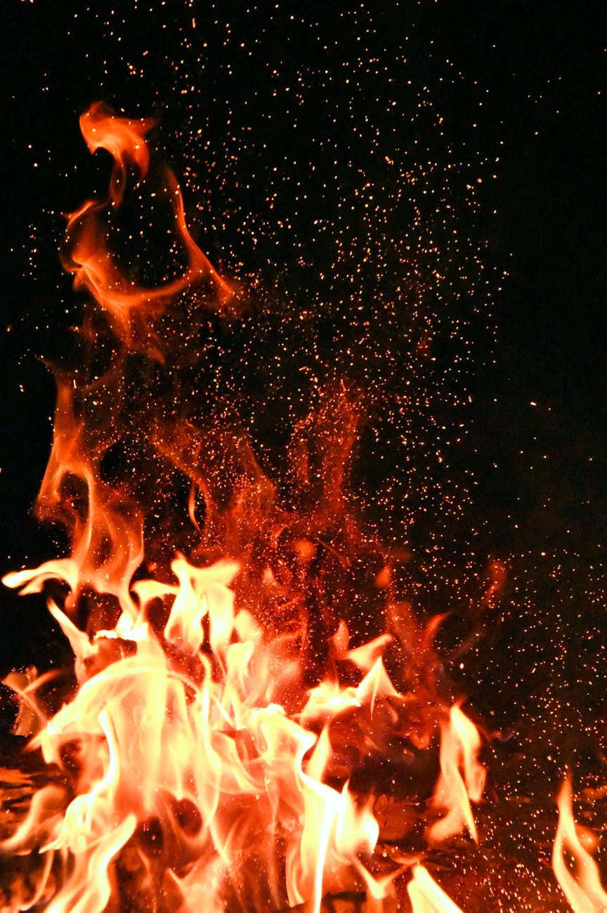 red and orange fire