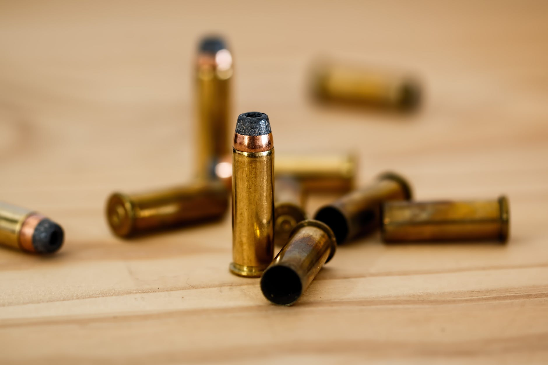 close up photography of brass bullets