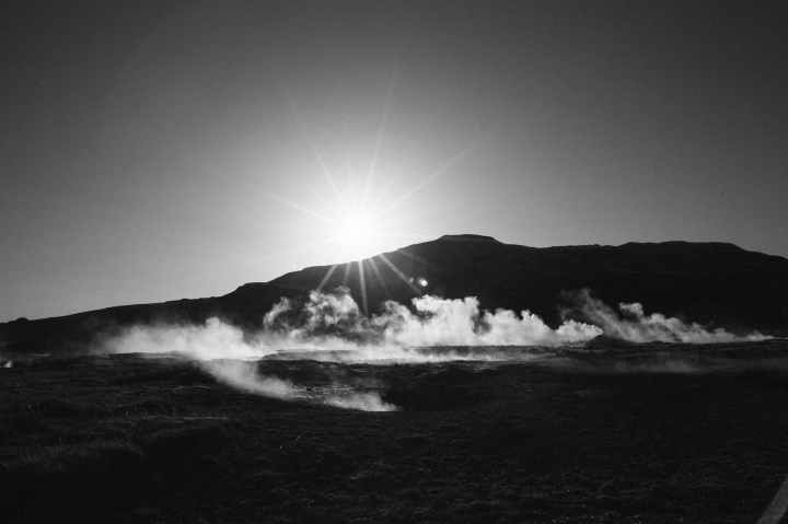 black and white dawn mountains nature