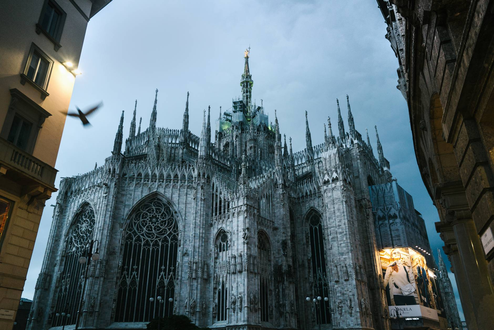 milan cathedral of nativity of saint mary in dusk
